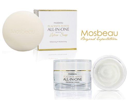 Authentic Mosbeau Placenta White Facial Cream & Soap - 2pc Whitening Set