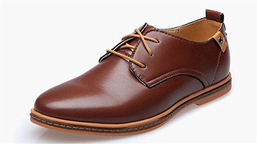 Meetloveyou Men Leather Shoes Fashion Casual Lace-Up Mans Footwear Patent Leather Oxford Shoes Sapato Plus Size Men Shoes Brown - Brown Footwear Combo Youth