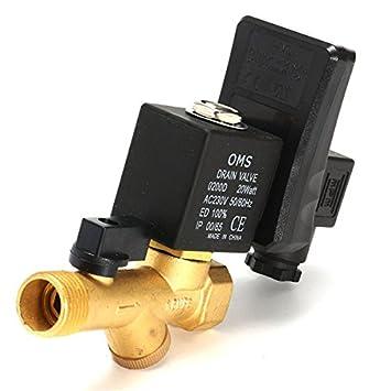 Tutoy 1/2Inch AC 220V Automático Electrónico Válvula De Tiempo De Aire Comprimido Válvula De Drenaje De Gas: Amazon.es: Hogar