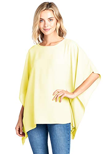 (Modern Kiwi Opaque Chiffon Caftan Poncho Tunic Top Lemon One)