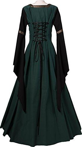 Hermia Dornbluth Mittelalterkleid schwarz Dunkelgrün Damen ZPwwEqYg