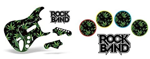 Rock Band Drum, Guitar Skin Combo, Fits Xbox 360 / PS3/2 Rockband - Weeds Black (Two Rock Combo)