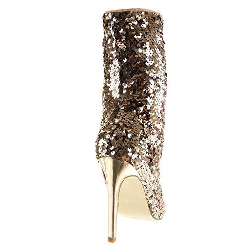 Stivaletti alto Sexy Paillettes tacco lucido Champagne Aghi Donna Scarpa 10 5 Cm Moda Angkorly pnqwg4Ef6x