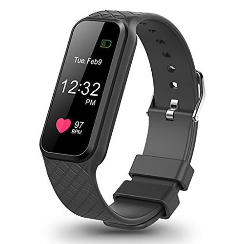 Fitness Tracker with Heart Rate Monitor Color Screen Smart Slim Wristband Pedometer Smart Bracelet Sleep Monitor, Waterproof Activity Tracker Smart Watch for Android and IOS (Black)