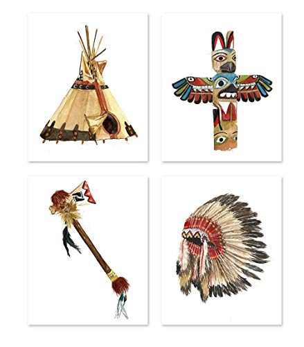 Native american folk art #A130 - Set of 4 (8x10) posters. Tribal Wall Decor Indian Girl Feathered Home Wall art Painting Watercolor ()
