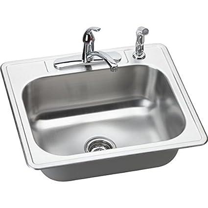 elkay dse125224df 20 gauge stainless steel single bowl top mount rh amazon com Kohler Kitchen Sinks and Faucets Kitchen Faucets for Undermount Sinks