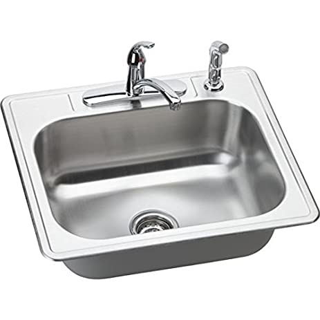 Elkay DSE125224DF 20 Gauge Stainless Steel Single Bowl Top Mount Kitchen  Sink With And Faucet Kit