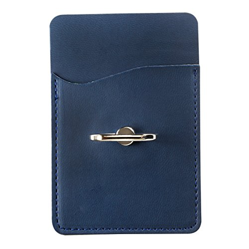 - Ashee PU Leather Cell Phone Wallet/Pocket/Card Holder with Ring Stand for Mobile Devices, Adhesive Sticker Back (Navy Blue)