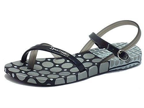 Chancas para mujer Ipanema modelo sándalo goma, color negro Black Silver