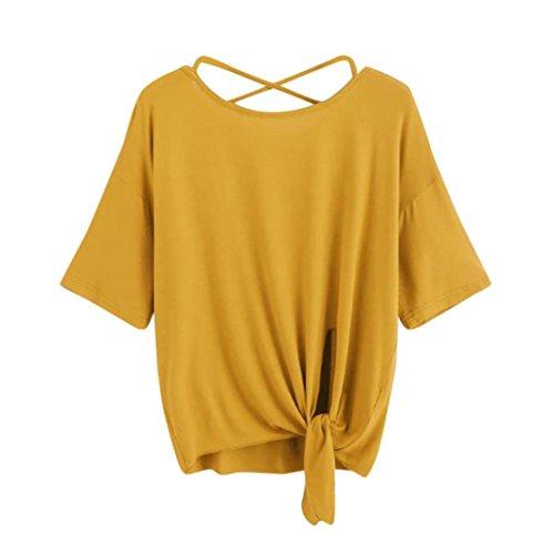 Women's T Shirt,Summer ANJUNIE Solid Crisscross Back Knot Half Sleeve Blouse (Yellow,L)