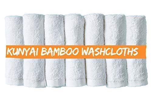 10 Washcloths - Kunyai Bamboo Washcloths - Best Premium Luxury Organic Washcloth 10X10 Inches, For Adults And Kids Better Than Cotton Ideal Gift and Baby Registry - Soft White Hypoallergenic Fiber (7 Pieces)