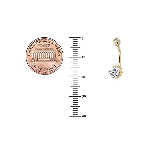 Ritastephens 14k Solid Gold Belly Button Top Bottom Cubic Zirconia Navel Barbell Ring (yellow-gold) by Ritastephens (Image #3)