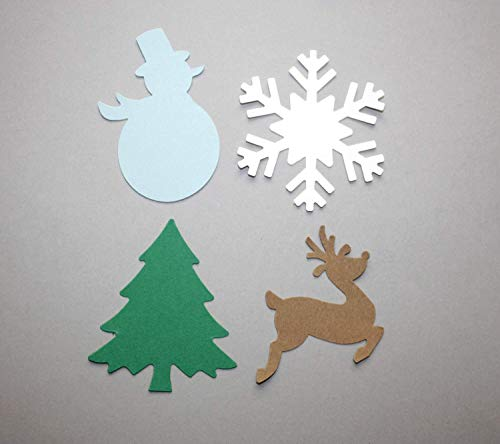 Christmas Die Cuts Snowman Snowflake Christmas Tree Reindeer Paper Winter Cutouts (40 CT) from Crafts & Confetti