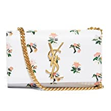 Saint Laurent Small Grunge Flower YSL Monogram Chain Bag 354121 White