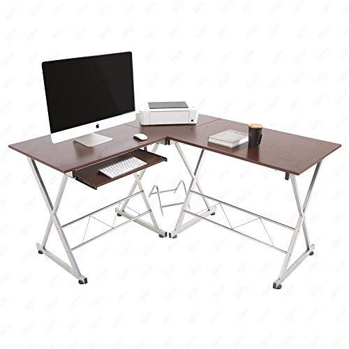 Thaweesuk Shop Walnut MDF L-Shaped Corner Computer Desk PC Laptop Table Wood Workstation Home Office 59.1