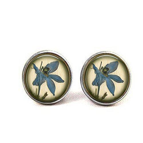 - lukuhan Something Blue Wedding - BLUE IRIS Pressed Flower Image - Something Blue Bridal Pendant earrings