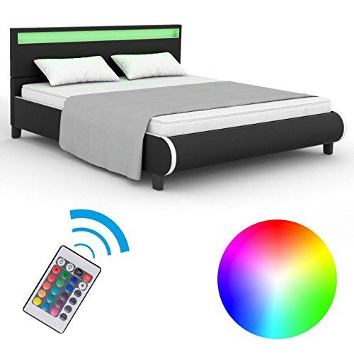 Homelux LED Bett Polsterbett Kunstlederbett Doppelbett Bettgestell Bettrahmen 160 x 200 cm Schwarz