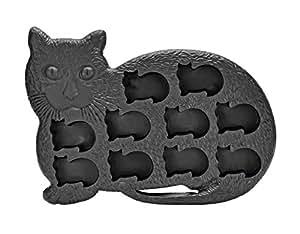 Fairly Odd Novelties Cat Kitten Shape 10 Ice Cube Tray Mold Black Rubber Novelty Gag Gift