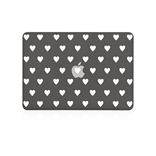 TOP CASE Heart-Shaped Design Black Ultra Slim Light Weight Rubberized Hard Case Cover Compatible with Apple MacBook Pro 13.3