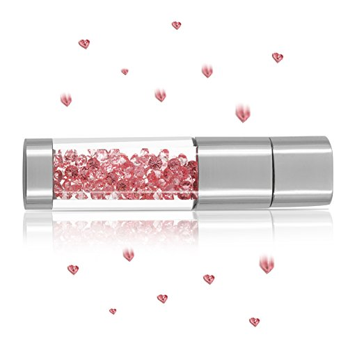 USB Flash Drive 64GB, Techkey Crystal Jewelry Pen Drive with Silver Polishing Cloth and Velvet Bag Set for Girls (Pink) (Usb Flash Drive Fancy)
