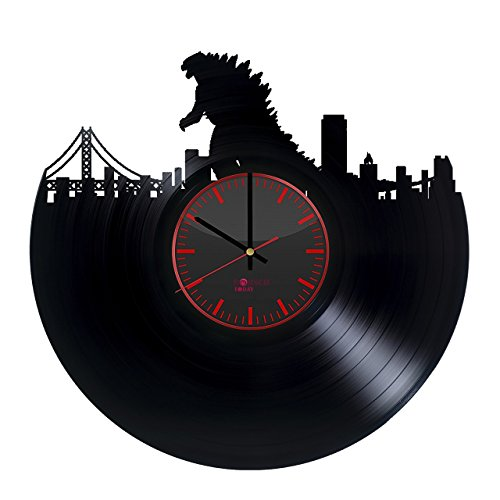 [Godzilla Handmade Vinyl Record Wall Clock - Get unique bedroom or living room wall decor - Gift ideas for adults and youth – Monster Silhouette Unique Modern Art Design] (Ghidorah Costume)