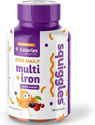 Kids Multivitamin + Iron Gummies by Squiggles 100ct. | All-Natural, Low Sugar, and Super Yummy | Broad Spectrum of Vitamins and Minerals with a Boost of Iron.