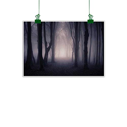(Warm Family Forest Art Oil Paintings Path Through Dark Deep in Forest with Fog Halloween Creepy Twisted Branches Picture Canvas Prints for Home Decorations 35