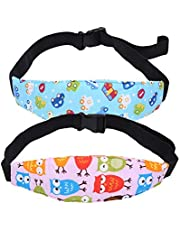 HEALLILY Baby Head Support Band Adjustable Head Band Fixing Strap for Baby Seat Strollers 2Pcs (Pink Owl + Blue Car) 2Pcs