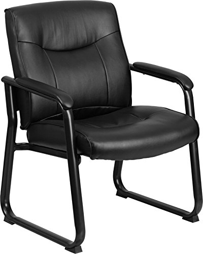 ules Series Big and Tall Leather Executive Side Chair with Sled Base and Padded Arms, 500-Pound, Black (Executive Side Arm Chair)