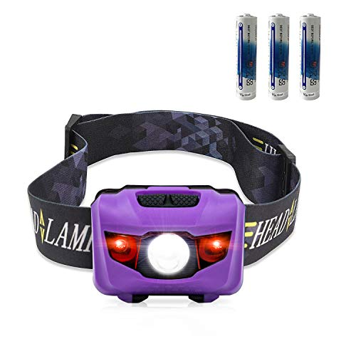 STCT CREE LED Headlamp Flashlight, STCT with Red Light Headlamp, Waterproof Head Lights Led for Kids Camping, Running, Batteries Included (Purple)