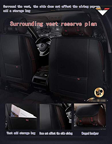 HL-TD Four Seasons Seat Cover Fully Enclosed Airbag Compatible with 5 PU Polyester Fabric Front and Rear Car Seat Cushion Durable (Color : Black)