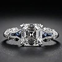 suwanpoom 2.45ct White Topaz Vintage Jewelry 925 Silver Wedding Engagement Ring Size 6-10 (ุ6)
