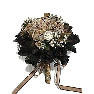 "Steampunk Wedding Bridal Flower Rose Bouquet Gift Idea 10"" H 91"