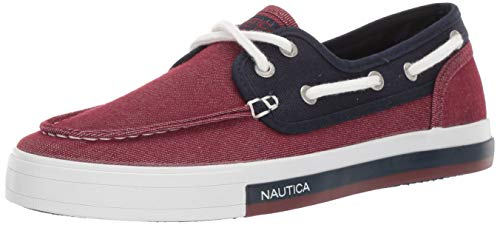 - Nautica Men's Spinnaker Boat Shoe, Red Knit/Navy, 10 Medium US