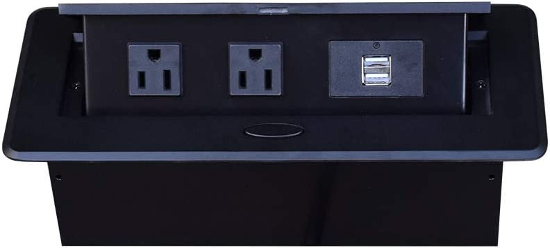 Table Pop Up Power Box-sofa board Damped Multimedia Outlet Connection Box,Desktop Pop Up Socket with 2 Outlets & 2 USB Ports
