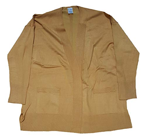 Terra & Sky Women's Plus Size Ochre Harvest Fine Gauge Long Sleeve Cardigan - 3X