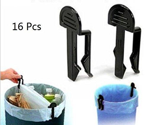 La Tartelette Plastic Junk Clip Garbage Can Waste Bin Trash Bag Clip Clamp Holder, Black - Pack of 16 (Garbage Can Clips)