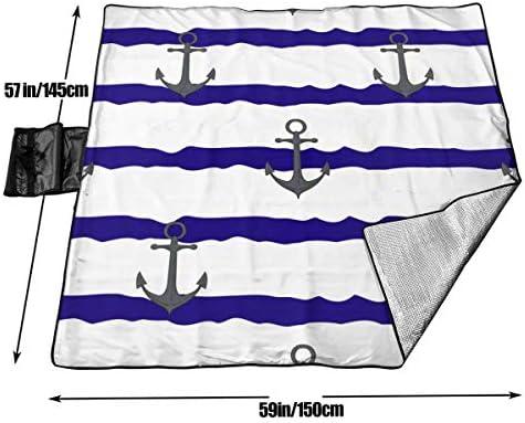 Olie Cam Modello delle Ancore sulla Coperta di Picnic spogliata Bianco Blu con la stuoia di Picnic all'aperto a Prova di Sabbia di Handcarry