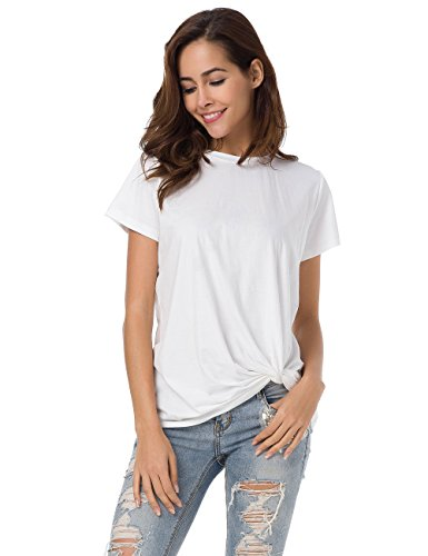 MSHING Womens Casual Round Neck Short Sleeve T-Shirt Blouse Comfortable Cotton Basic Tops