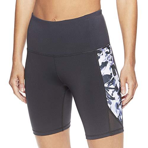 Gaiam Women's Yoga Short - Performance Spandex Compression Workout & Training Shorts w/Phone Pocket - Asphalt Grey, Medium