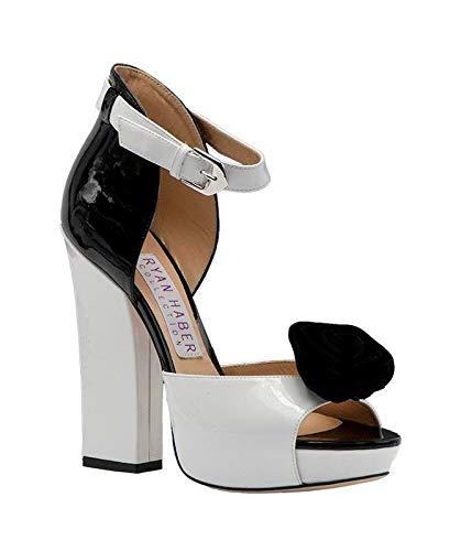 RYAN HABER White Pat/Black Pat Platform Ankle Strap Sandal W/Black Bow 38/8 ()