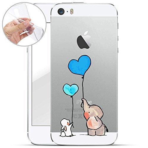 finoo   Iphone SE Weiche flexible Silikon-Handy-Hülle   Transparente TPU Cover Schale mit Motiv   Tasche Case Etui mit Ultra Slim Rundum-schutz   Hase Elefant Blaue Luftballons