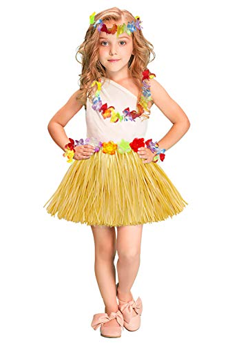 (Fighting to Achieve 40cm Performance Grass Skirt with Flowers Bracelets Headband Necklace Hula)
