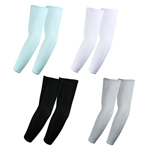 4 Pairs of The Elixir Arm Sleeves UV Protection Arm Cooler Warmer Basketball Shooting Sleeves, Ideal for Tennis, Fishing, Hiking, Golfiation (White, Black, Gray, Mint Green)