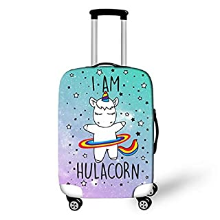 "OSVINO Cartoon Cute Unicorn Luggage Cover Durable Elastic Travel Suitcase Protector, Unicorn A, M(for 22""-25"" Luggage)"