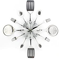 Fork and Spoon Wall Clock, WOLFBUSH Metal Kitchen Cutlery Utensils Wall Clock Mute Home Decor Gift