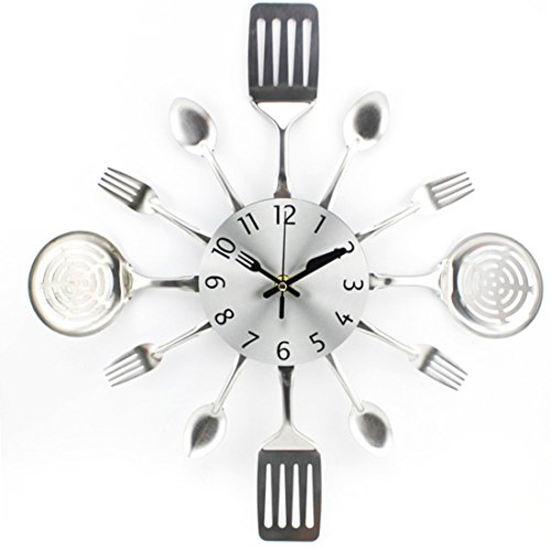 WOLFBUSH Fork and Spoon Wall Clock, Metal Kitchen Cutlery Utensils Wall Clock Mute Home Decor Gift