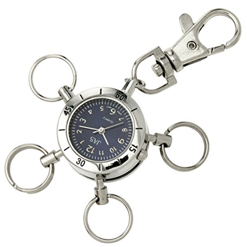 JAS Unisex Novelty Belt Fob/Keychain Watch Multi Key Ring Silver Tone