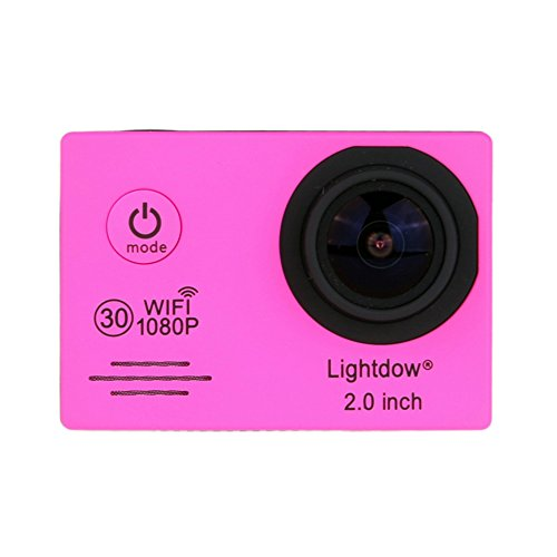 Lightdow LD6000 WiFi 1080P HD Sports Action Camera Bundle with DSP:Novatek NT96655 Chip, 2.0-Inch LTPS LCD, 170° Wide Angle Lens and Bonus Battery (Pink+WiFi) Action Cameras ZLY Technology