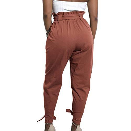 Battercake Ziegelrot Cómodo Casuales Bowknot Zanahoria Pantalones Color De Sólido Talle Alto Mujer Vendaje Harén qFwrZq4xO8